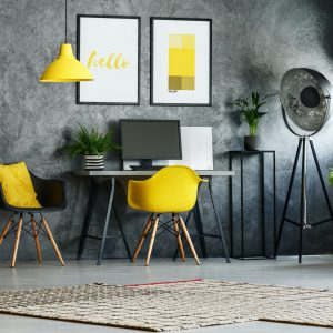 Stylish home office with chair